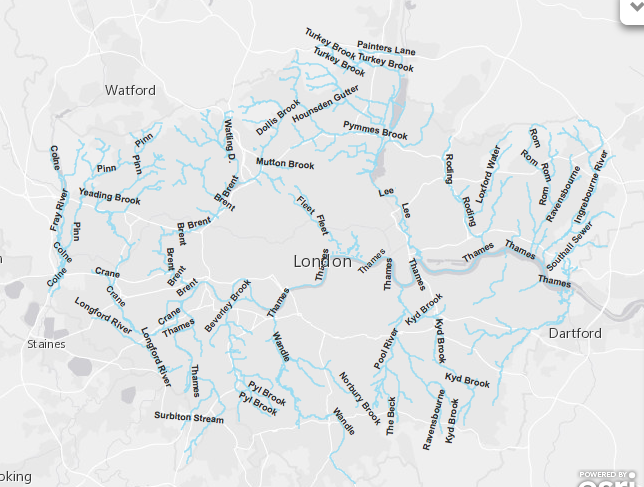 Map Of London Rivers The Lost Byway - London map png