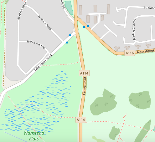 Wanstead Flats map showing the burnt area - from OpenStreetMap